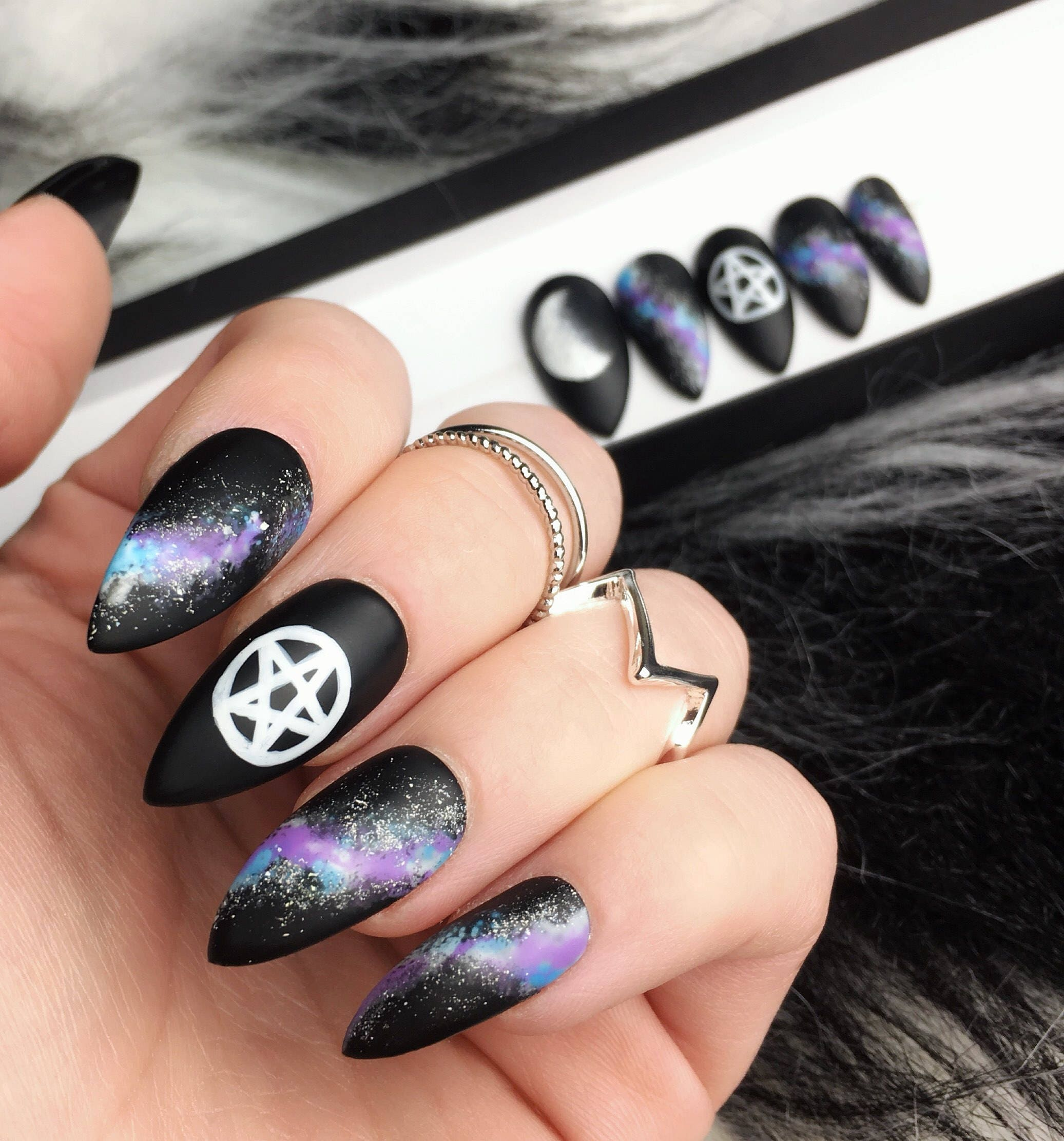 Matte Pentgram Press on Nails | Galaxy False Nails | Moon Phase ...