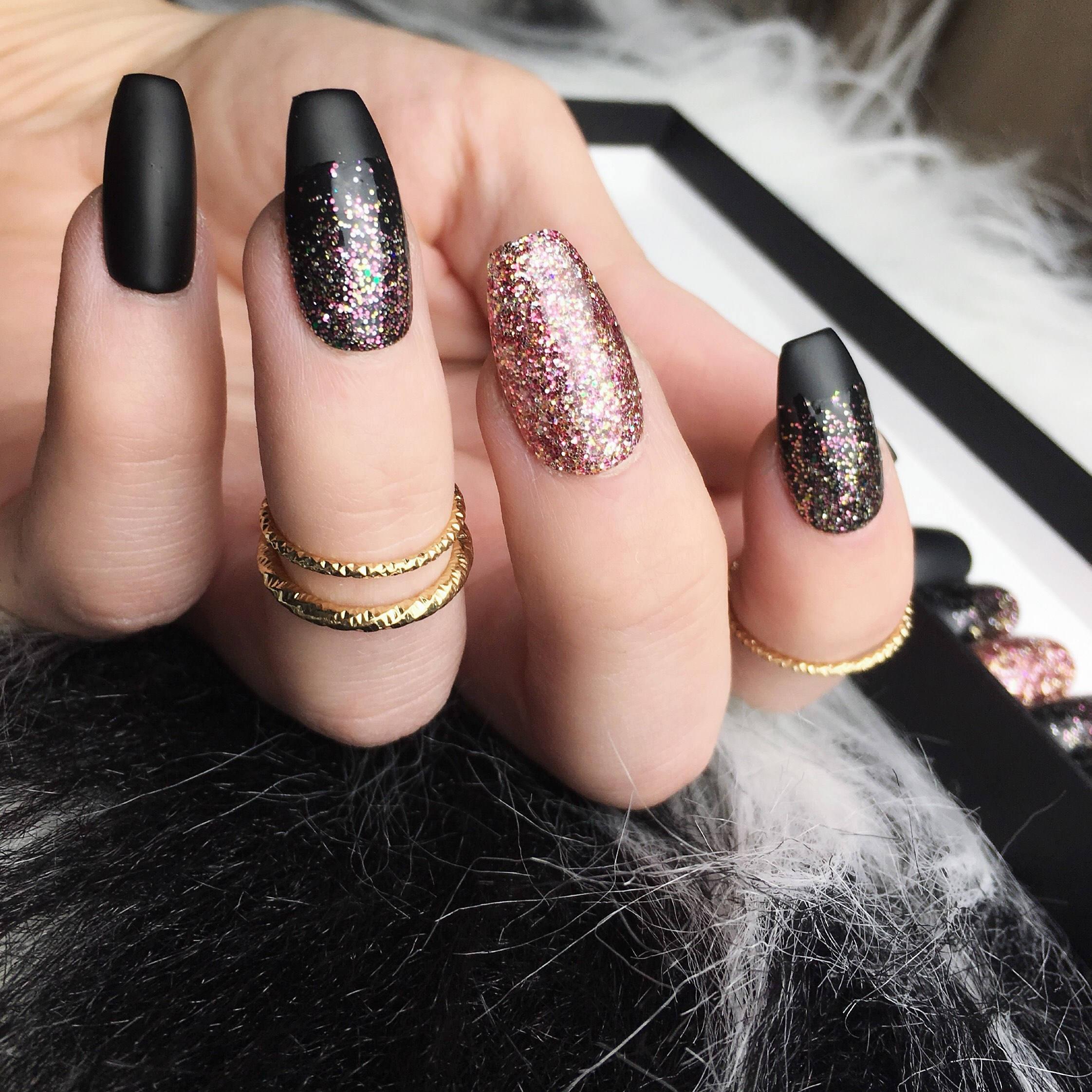 4b50dcc3315a Black Rose Gold Glitter Press on Nails Matte Fake Nails