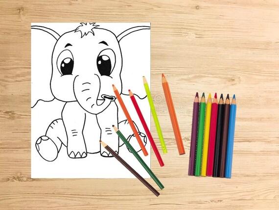 Baby Elefant Druckbare Ausmalbilder Kinder Färbung Etsy