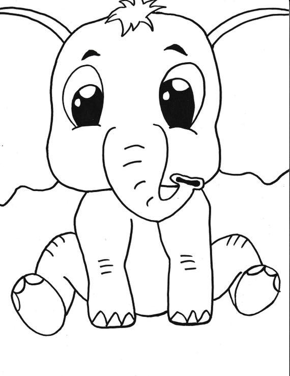 Kleurplaten Baby Olifant.Baby Olifant Afdrukbare Kleurplaat Kids Kleurplaat Instant Download Kunst Zwart Wit Tekenfilm Handgemaakte