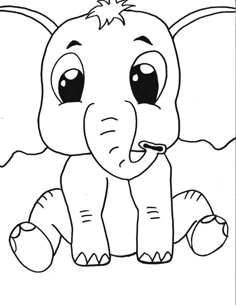 Coloriage Bebe Elephant.Bebe Elephant Coloriage Imprimable Page Les Enfants Etsy