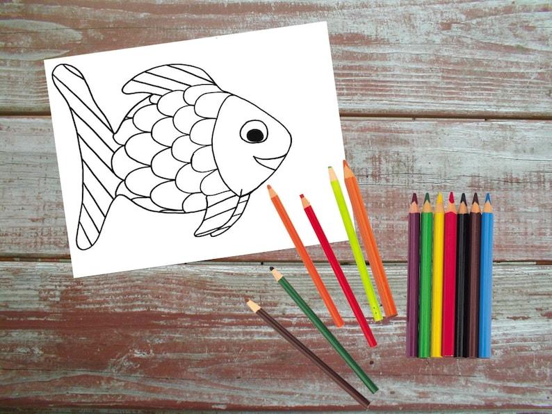 Regenbogenfisch Druckbare Malvorlagen Fisch Bedruckbar Kinder Färbung Sofortiger Download Schwarz Weiß Kunst Handarbeit Von Hand Cartoon