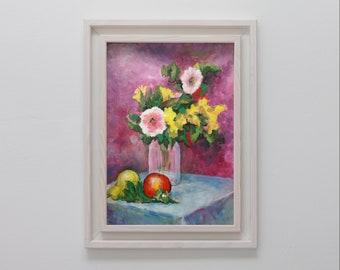 still life painting, original painting, original artwork, fruit and vegetables, art, handpainted, wall art, tempera, traditional