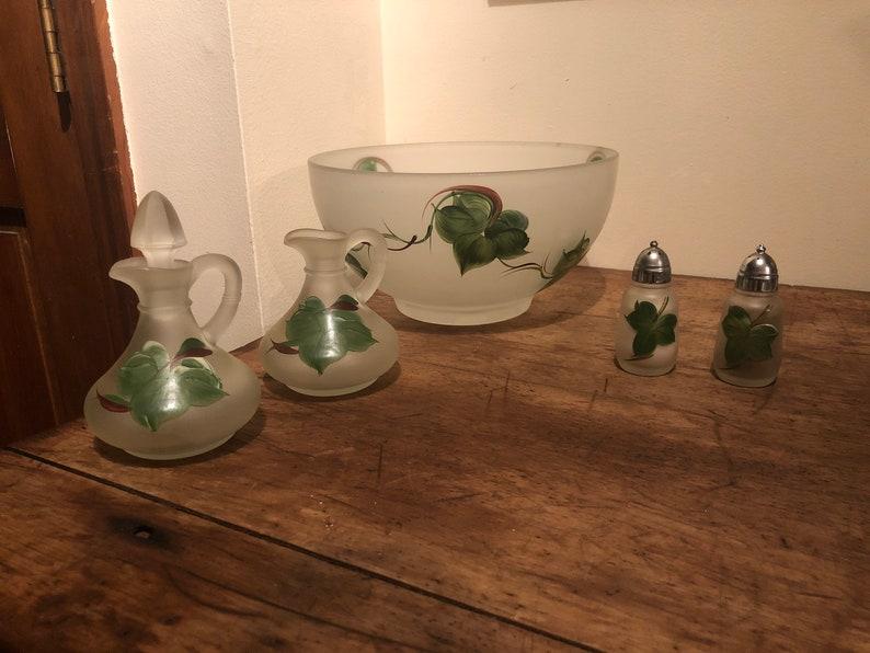 Hazel Atlas Frosted Ivy Leaf Salad Bowl Set 2 Cruets 2 Shakers and Bowl