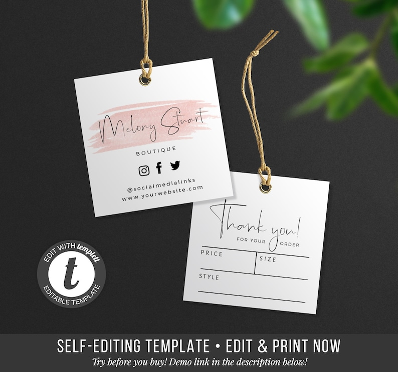 graphic regarding Printable Hang Tag named Printable Dangle Tag - Ediatble Thank Oneself Tag - Apparel Tag - Cost Tag - Cling Tag Design and style - Labels and Tags - Do it yourself Hold Tag Label - Template