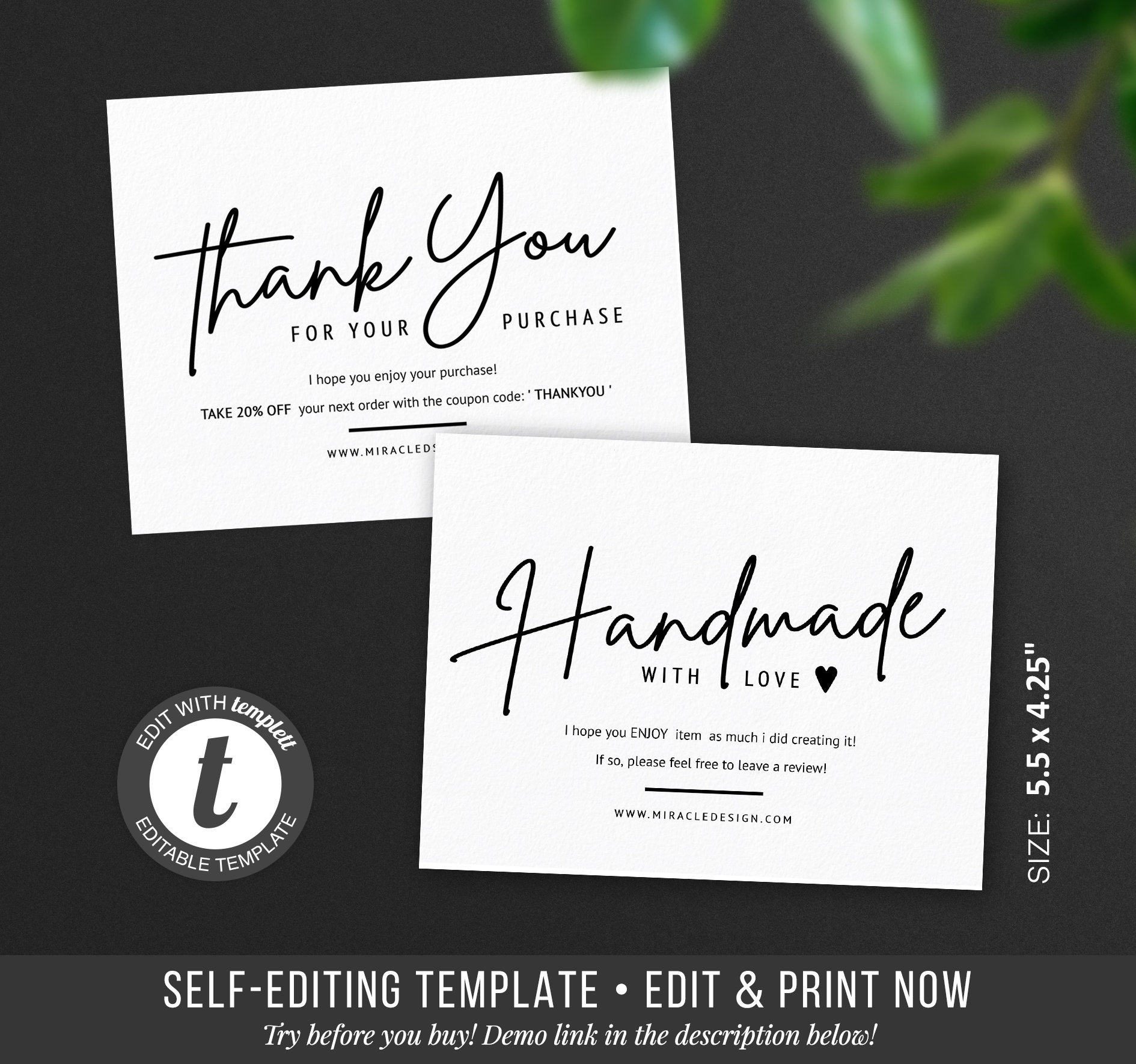 business thank you insert cards thank you for your order
