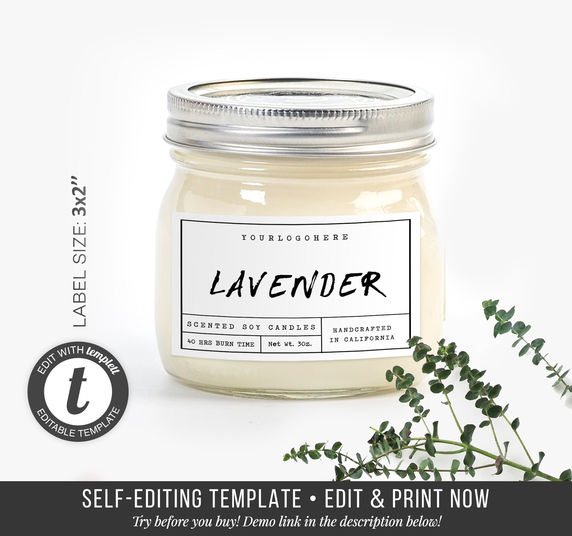 Custom candle labels candle label design editable product labels printables label templatte candle jar sticker diy label 3x2