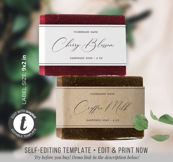 009 Custom Soap Label Template Soap Labels Editable Label Template Label Template DIY Label template Watercolor Label Design