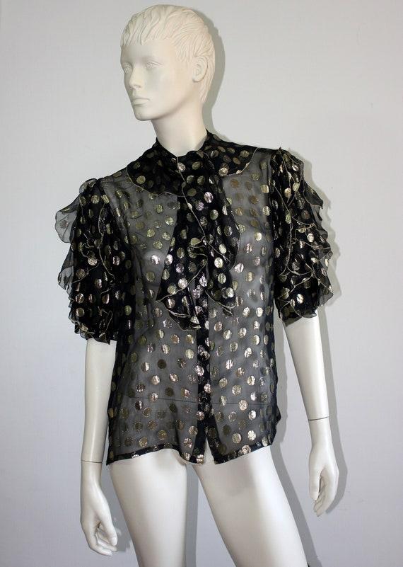 Vintage LOUIS FERAUD black silk sheer organza meta