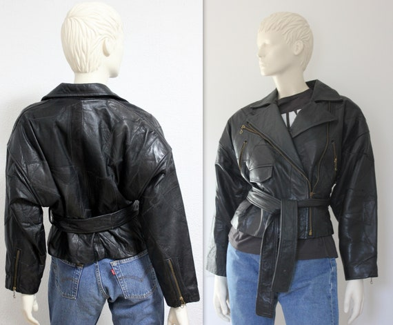 Vintage women's leather slices patchwork biker avi