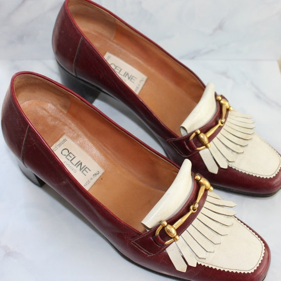 Vintage CELINE Women's Burgundy Leather Horsebit L