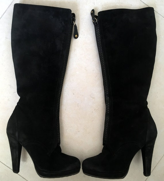 Vintage Gucci black winter suede high heels boots