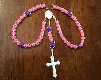 Sliding Rosary: pink with purple flowers