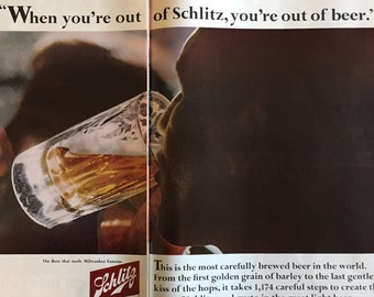 166b29f9a6f73 Schlitz two-page Beer Ad from 1966 LIFE magazine
