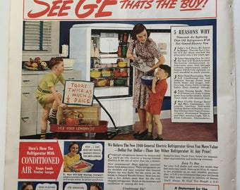 1940 GE Refrigerator Ad From Ladies Home Journal