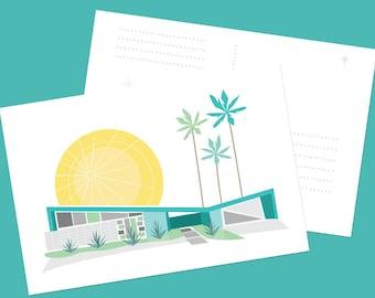 Mid Century Modern Home Palm Springs Krisel Butterfly Roof versize Postcard Art Print