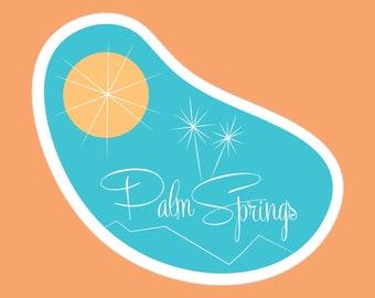 Palm Springs Mid Century Modern Pool Sticker