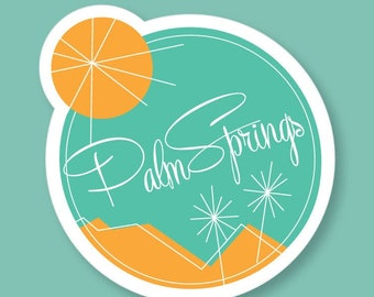 Palm Springs Mid Century Modern Desert Logo Sticker