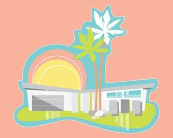 Palm Springs Mid Century Modern House Meiselman Sticker