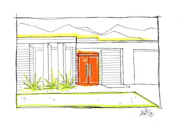 Palm Springs Orange Door Mid Century Modern House Urban Sketch Illustration