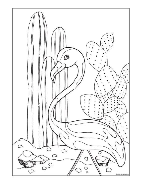 Lawn Flamingo and Cacti Palm Springs Coloring Page