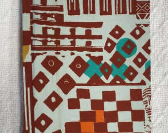 Light Blue and Brown Abstract African Wax Print Notebook