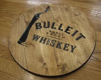 Bulleit Bourbon Whiskey - Circular Wooden CNC Engraved Bar Sign