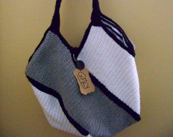 Hand knit (white, grey, black) # 900 bag