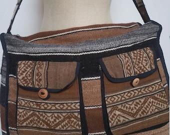 Vintage Extra Large Woven Wool Messenger Crossbody Shoulder Boho Bag