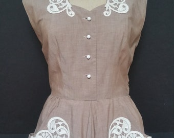Vintage 1950's as is Cotton Summer Day House Dress