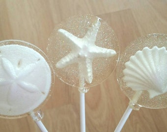 Seashell and Glitter Lollipops, Set of 10 lollipops, Custom Colors Available To Match Your Wedding