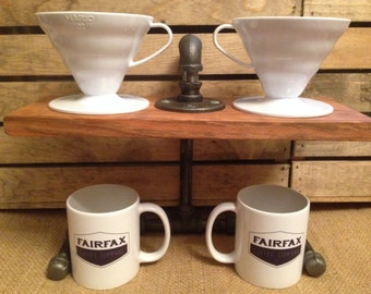 Black Steel Coffee Pourover Stand (Double - Hario V60 & Kalita Drippers)