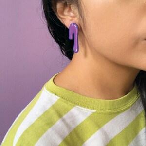 Pink /& Purple Long Silver Earrings Floral Earring Handmade Gardener Unique Birthday Gift for Mom Art Deco Flower Earrings