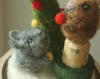 Little Rabbits at Christmas Needle felted scene