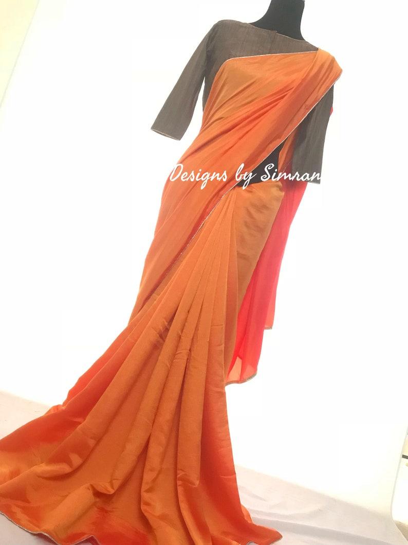 bf8bed724f342c Handwork Blouse & Plain Orange Saree | Etsy