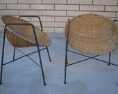 Very Rare Child Size Wicker and Iron Chairs in the Style of Salterini
