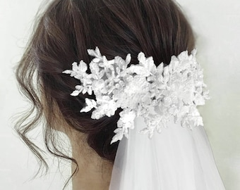 Bridal  headpiece, wedding lace headpiece,bridal lace headpiece,3D lace bridal headpiece