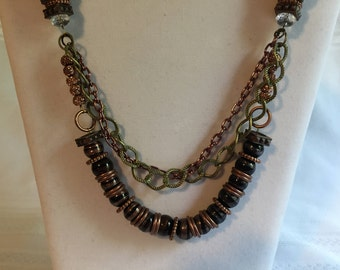 Bronze/Cooper Chunky Statement Necklace/long length/multi strand/multi-tier necklace/long necklace