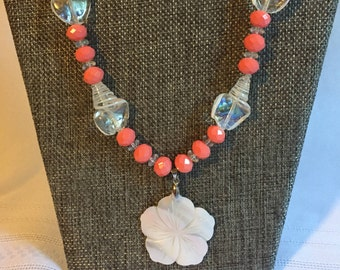 Coral/Mother of Pearl Hibiscus Necklace/gift for her/gift for mom/coral necklace/pink necklace
