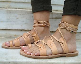 ef7897cd724ed7 Brown Tie Up Sandals