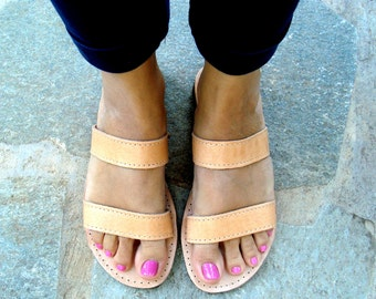 Greek sandals, Leather sandals, Greek leather sandals, Womens sandals, Brown leather sandals, Natural sandals, Summer flats