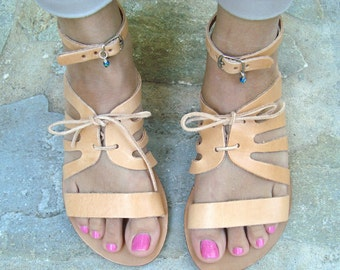 Sandales grecques, sandales en cuir, sandales en cuir grec, sandales naturel, appartements d'été, sandales femmes, sandales marrons, Klitemnistra
