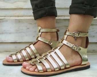 Or grecs sandales gladiateur or chaussures, gladiateur grec or, plat en cuir sandales, sandale grecque antique, sandales Spartiates, Calisto