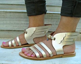 Greek sandals, Leather sandals, Strappy sandals, Handmade sandals, Greek leather sandals, Summer sandals, Womens sandals, Hermes gold