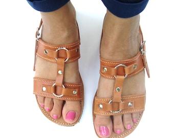 Sandale en cuir grec, Sandales Grecques, des sandales, sandales marrons, sandales de romain, cuir grec Sandle, sandales Spartiates, Dianthe