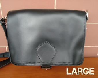 Large black messenger bag,Black leather messanger, Leather shoulder bag, Black leather messenger, Black leather bag, Ophelia black large