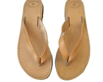 16b4b64aa7b6 Leather flip flops