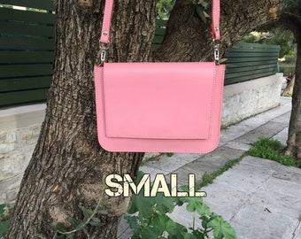 Leather crossbody bag, Leather messenger bag, Cross body bag, Leather clutch, Leather envelope, Wristlet, Leather bag, Leda pink small