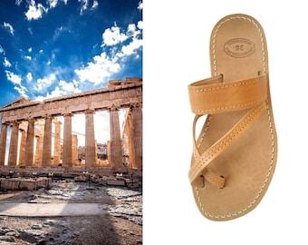 Sandales pour hommes, sandales grecques, sandales en cuir, sandales en cuir grec, sandales en cuir marron, sandales naturel, Zeus