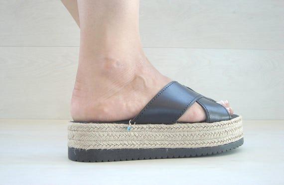 Slides Greek Sandals platforms Sandals Roman Greek Grecques Sandle Leather Greek Sandals Greek Thetis Black Leather 4SwPOO